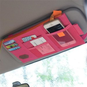 This sun visor organizer is perfect for busy Moms!