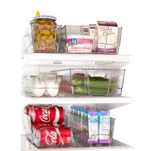 Refrigerator bins are always a good investment to make when organizing and cleaning your fridge.