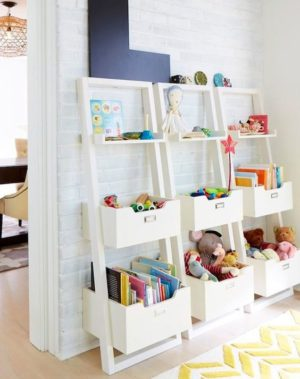 Use a bookcase shelf ladder along your kids; room wall to store toys and other things.
