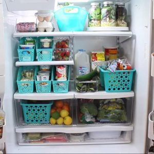 Use cheap, dollar store bins to organize your fridge.