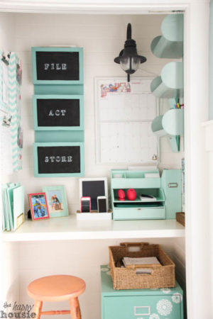 I love the idea of turning a small closet into a command center for the family. How lovely?