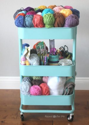 Use a rolling cart to store your craft supplies.