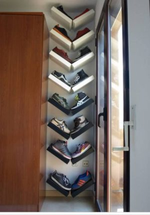 Use mini shelves in a corner of your room for a diy shoe display.