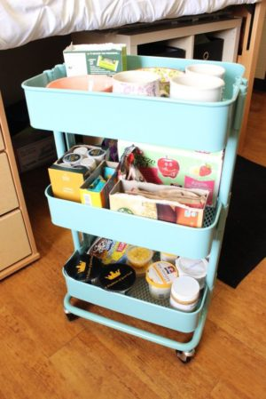 A mobile cart is perfect for organizing a small dorm room.
