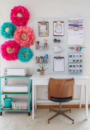 Use a pegboard in your home office to store your goodies. How lovely is this?