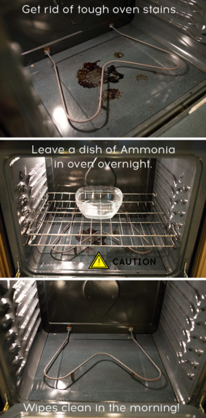 You will love this oven cleaning tip. Heat your oven to 200 degrees. Turn it off and place a dish of ammonia in the oven and leave overnight. In the morning you will be able to wipe away all food stains effortlessly.