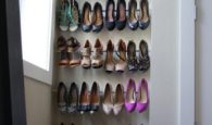 If you are tight on space, use tension rods in a corner of your bedroom to store and organize your shoes.