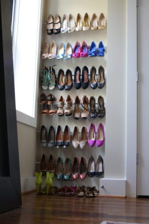 tension rod shoe racks bedroom nook e1509558712870 - 19 Ways to Organize Your Shoe Clutter on a Tight Budget