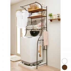 Small japanese laundry room rack for storage. Repin for later!