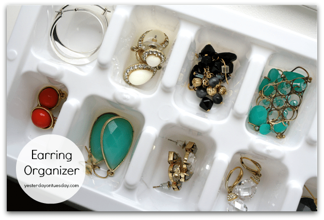 Organize earrings and other small jewelry using ice cube tray.