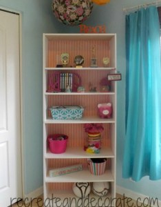 Use a bookshelf in the girl's bedroom to store their little things.