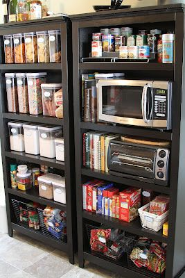 Tiny kitchen? No problem. Use a bookshelf as a standalone pantry.