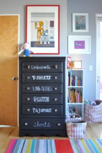 Love this chalkboard spray painted dresser. I definitely want to try this. Repin for later!