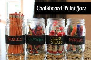 These chalkboard labeled jars look really cool. Repin if you think the kids would love this!