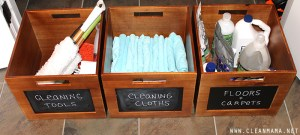 Store your household cleaning supplies in chalkboard labeled bins. Repin!