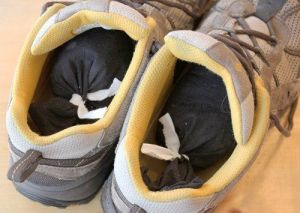 Fill pantyhose with coffee and leave inside of smelly shoes overnight to deodorize them.