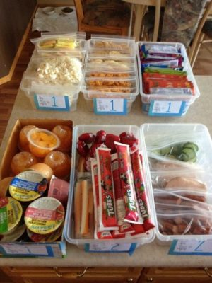 Prep snacks for the week and store them in bins so the kids can grab and go. Love this idea! Repin!