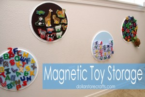 Use dollar store pizza pans to store magnetic toys. Repin if you think this is brilliant!