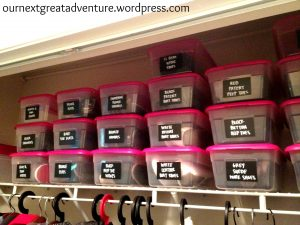 Use cheap dollar store bins to organize shoes in your closet.