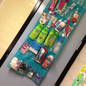 Use a shoe organizer to store your bathroom supplies. Love this for the dorm room. Repin!