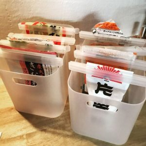 Japanese food storage hack. Use clips and bins to hang your opened food and to keep it organized. Repin!