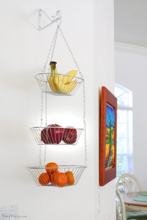This hanging fruit basket will keep your kitchen organized. Repin if you want one!
