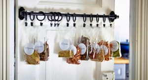 Install a rod on the back of your pantry door to store your favorite spices and herbs. Repin if you love this idea!