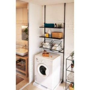 Japanese laundry room. Love the rack to add space. Repin!