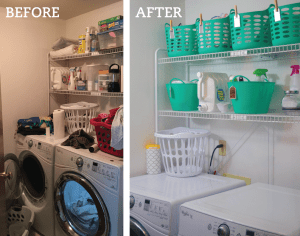 Give your laundry room a makeover with cheap dollar store bins. Repin for later!