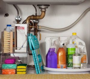 Use a lazy susan under the sink to store items.