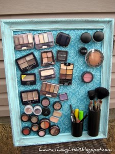 Create a magnetic makeup board for your beauty essentials.