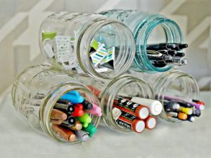 Hot glue mason jars together and use as a desk supply organizer.