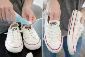 b8cf147df67 Use fingernail polish remover to clean the rubber soles of your tennis shoes.  Repin if