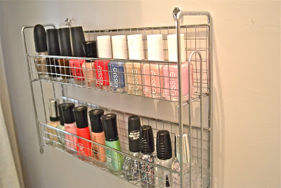 Use a simple dollar store spice rack to organize nail polish.