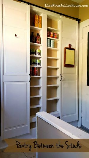 This pantry was made by using the space in between the wall stud in her kitchen. Love the barnyard doors!