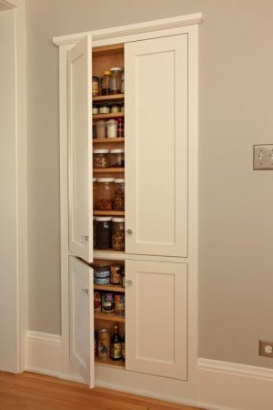 Love this pantry. It was built in between the wall studs in her kitchen.