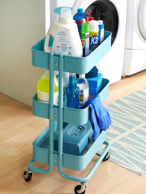 Use a Ikea Raskog cart to organize your laundry and other household cleaning supplies. Repin if you want one!