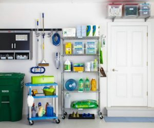 Organize your cleaning supplies in your garage with metal shelving.