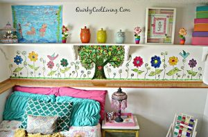 Install shelves around above and around the girl's bed for extra storage space.