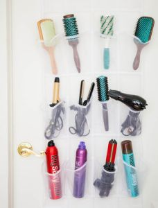 Use a shoe organizer to store your hair products and tools. Repin for later!