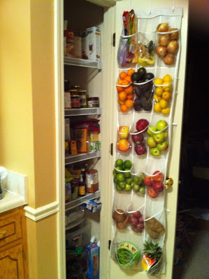 I think this is a great way to save space and store fruits and veggies in your pantry. Repin if you want to try this!
