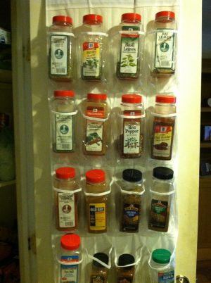 Use a shoe organizer to store your large bulk sized spices.