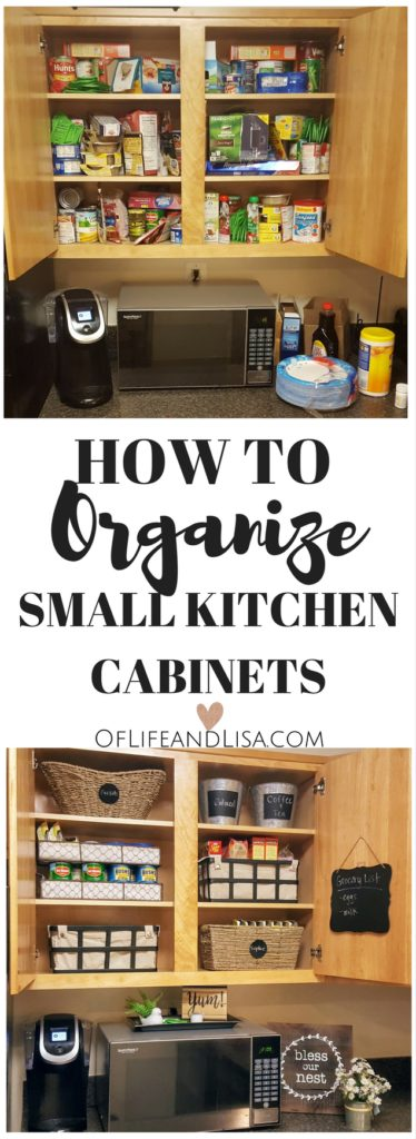 Organize small kitchen cabinets on a budget. Here's my mini kitchen makeover.