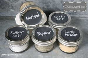 Use mini mason jars to organize and store your kitchen spices. I love this idea! Repin!