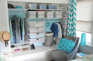 Use labeled bins to organize your daughter's clothes and shoes.