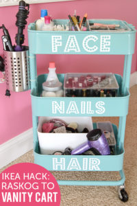 Turn an Ikea Raskog cart into a mobile vanity organizer for your girl's room.