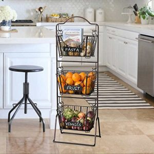 Use a tiered wire basket to store fruits and vegetables in your kitchen. Love this!