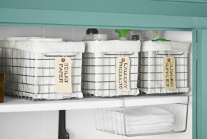 Use labeled wire bins to store your essentials in your linen closet. Repin if you want to try this!