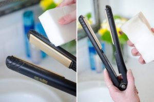 Clean your flat iron with a Magic Eraser to get rid of grease and grime.