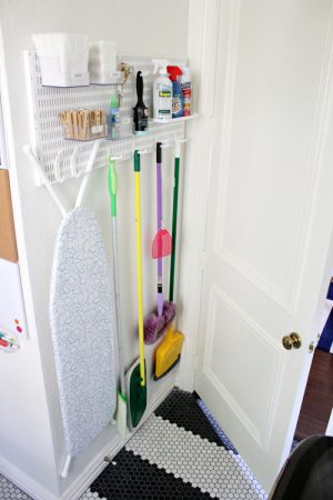 Use a laundry room pegboard to store supplies and other items if you have a small laundry room.
